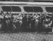 Kai Winding Trombones (left-right: Bill Wattrous, Kai Winding, Chip Hoehler, Eddie Green), Playboy Tour, 1963